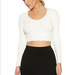 Tops - Ribbed Effect Crop and matching skirt